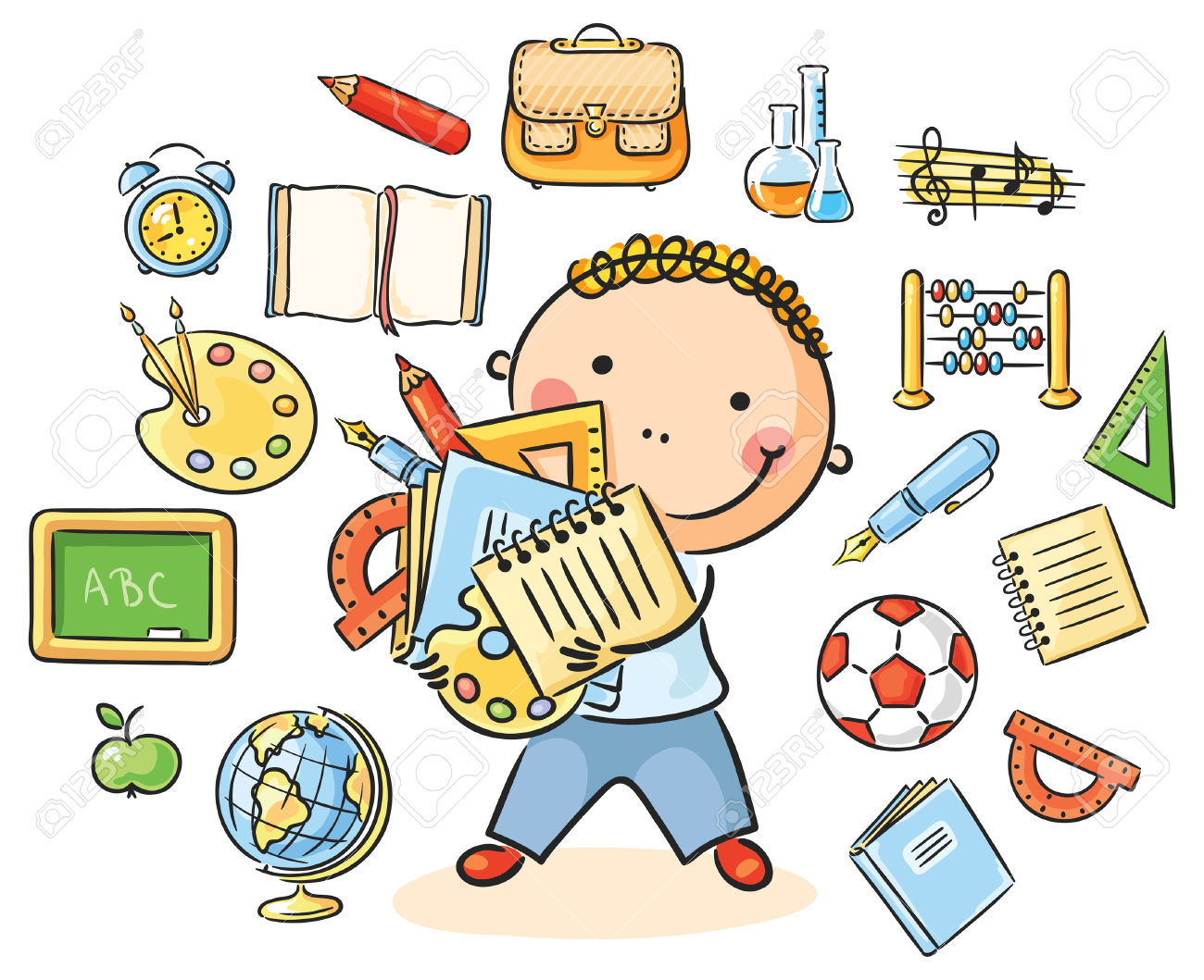 35233091 Cartoon schoolboy with lots of school things representing different school subjects Stock Vector